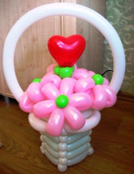 Как сделать из воздушных шаров корзину с