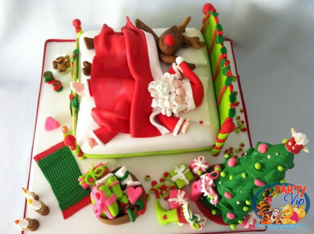 Тортик из мастики на новый год фото